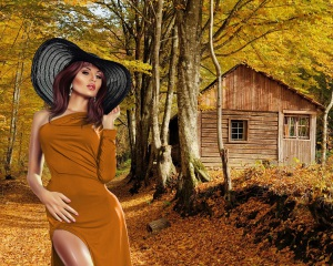 Alone house in autumn mountain